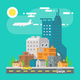 Colorful cityscape scene in flat design Royalty Free Stock Photos