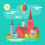 Colorful cityscape scene in flat design Royalty Free Stock Photo