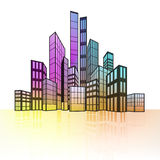 Colorful cityscape silhouette with ground reflection  Royalty Free Stock Image