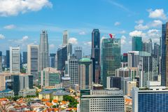 Colorful cityscape of Singapore from rooftop stock images