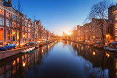 Colorful cityscape at sunset in Amsterdam, Netherlands Royalty Free Stock Images