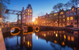 Colorful cityscape at sunset in Amsterdam, Netherlands Royalty Free Stock Photography