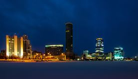 Colorful cityscape of Yekaterinburg at winter night with bright lights stock photography