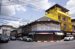 Colorful classic building old town is a very famous tourist destination of Yala city. On July 13, 2016 in Yala province of southern Thailand stock images