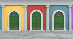 Colorful classic facade with ionic column Royalty Free Stock Photo