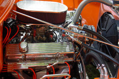 Colorful Classic Truck Engine. Colorful Orange Engine in Classic Truck Royalty Free Stock Photos