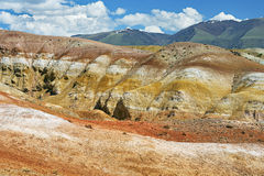 Colorful clay deposit in the Altai Mountains or Mars valley, Kizil-Chin Royalty Free Stock Photography