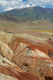Colorful clay deposit in the Altai Mountains or Mars valley, Kizil-Chin Stock Image