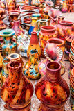 Colorful clay flower vases Royalty Free Stock Images