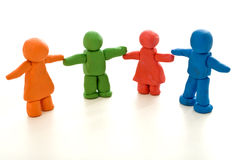 Colorful clay people - unity in diversity concept Stock Image