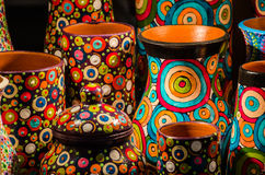 Colorful clay pots Stock Images