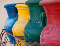 Colorful clay pots in a trash can at the hotel in Hurghada, Egyp Stock Photo