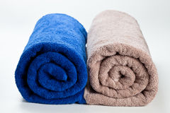 Colorful clean cotton towels isolated on white Royalty Free Stock Photography