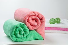 Colorful clean cotton towels isolated on white Royalty Free Stock Image