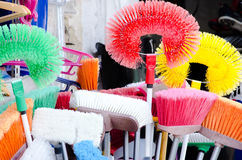 Colorful cleanig brushes Royalty Free Stock Photos