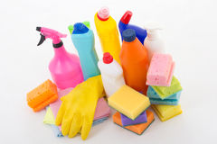 Colorful cleaning equipment  on white Stock Images