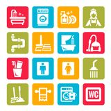 Colorful cleaning icons Royalty Free Stock Image