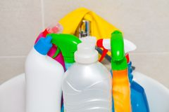 Colorful cleaning products in the bathroom royalty free stock images