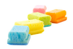 Colorful cleaning sponges isolated over white Stock Image