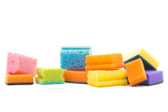Colorful cleaning sponges  on white Stock Images