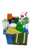 Colorful Cleaning Supplies. Great  shot of a blue bucket full of cleaning supplies.   on white Stock Photos