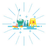 Colorful cleaning supplies in flat style Stock Photography