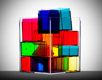 Colorful clear boxes back lit Stock Images