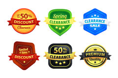 Colorful Clearance Discount Badges. Six colorful clearance discount badges in vector. Red, orange, yellow, brown, blue, black, white, and golden colors used Royalty Free Stock Images