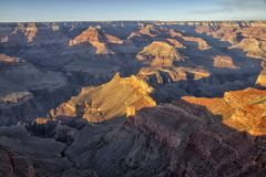 Colorful cliff faces and deep canyon views of Grand Canyon National Park, Arizona. USA stock photography