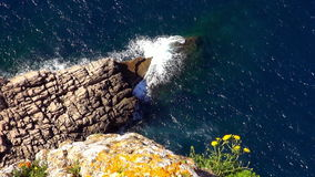 The Colorful Cliff line of Mallorca  breaking ocean waves stock footage