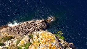 The Colorful Cliff line of Mallorca at the Mediterranean sea aerial shot stock video