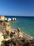 Colorful  cliffs of the Algarve in Portugal Royalty Free Stock Photography