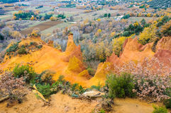 Colorful cliffs in French Colorado, Provence, France Stock Photos