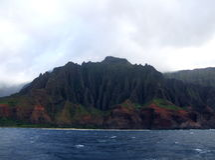 Colorful cliffs at Na Pali Coast, Kauai, Hawaii Stock Photos