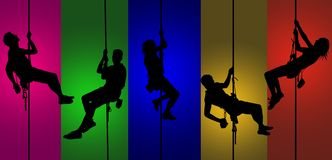 Colorful climbers royalty free illustration