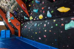 Colorful climbing modern gym Royalty Free Stock Photography