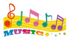Cute Happy Music Notes Royalty Free Stock Photos