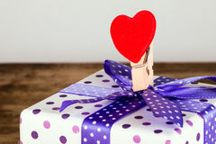 Colorful clip and gift box Royalty Free Stock Photos