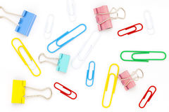 Colorful clip on white paper background. Royalty Free Stock Photography