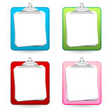 Colorful clipboards. With copy space isolated over white Stock Photos