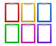 Clipboard. Colorful clipboards with white blank papers. Vector available Stock Photography