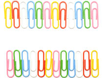 Colorful clips isolated. Colorful clips in row for wallpaper Stock Photos