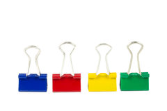 Colorful clips on a row. Isolated Royalty Free Stock Photography
