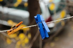 Colorful clips for washing laundry Stock Images