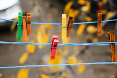 Colorful clips for washing laundry Stock Photos