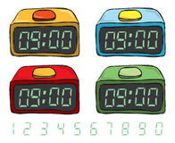 Colorful clock doodle Stock Photography