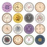 Colorful clock faces vintage modern parts index dial watch arrows numbers dial face vector illustration. Colorful clock faces vintage and time modern parts index vector illustration