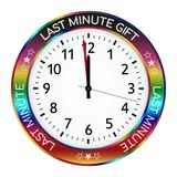 Colorful Clock. Last Minute Gift Ideas! One Minute Left vector illustration