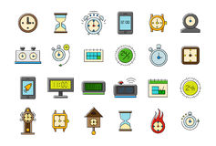 Colorful clocks vector icons set Stock Photos