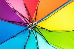 Colorful close up abstract of rainbow umbrella Stock Photos